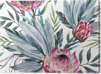 Raster tropical protea pattern Canvas Print