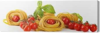 Raw homemade pasta and tomatoes, isolated on white Canvas Print