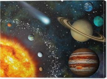 Realistic 3D Solar System Wallpaper Canvas Print