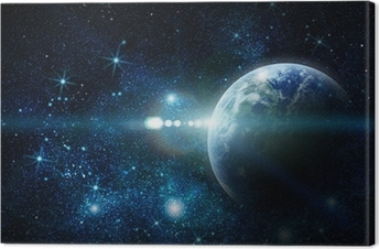 realistic planet earth in space Canvas Print