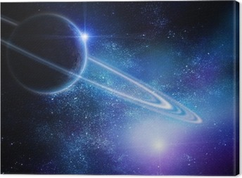 realistic saturn in open space Canvas Print