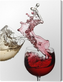 Red and white wine up together Canvas Print