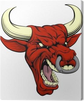 Red bull mascot Canvas Print