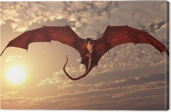 Red Dragon Attacking from a Sunset Sky Canvas Print