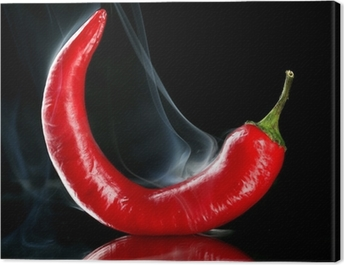 Red hot chili pepper isolated on black Canvas Print