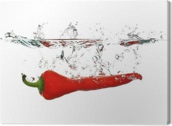 Red Pepper splash Canvas Print