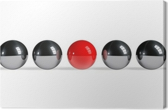 Red sphere among chrome spheres Canvas Print