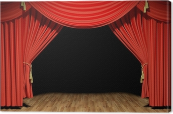 Red stage theater velvet drapes Canvas Print