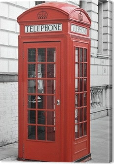 Red telephone booth in London, England Canvas Print