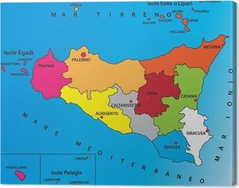 Cartina Geografica Dettagliata Della Sicilia.Carta Geografica Della Sicilia Canvas Print Pixers We