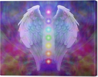 Reiki Angel Wings and Seven Chakras Canvas Print