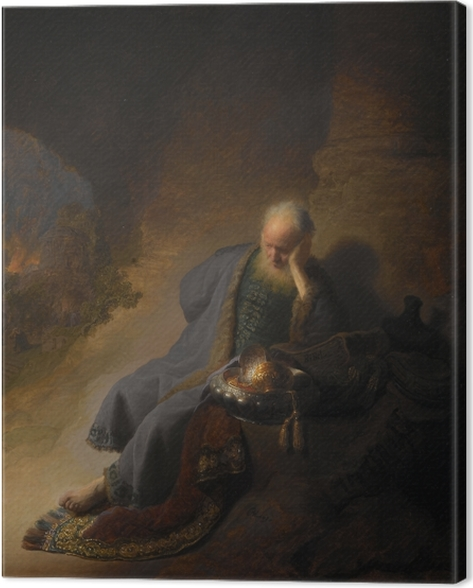 Rembrandt - Jeremiah Mourning Over the Destruction of Jerusalem Canvas Print - Reproductions