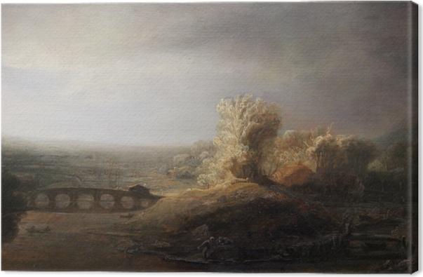 Rembrandt - Landscape with Arch Bridge Canvas Print - Reproductions