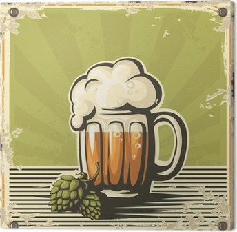 Retro beer poster. Canvas Print