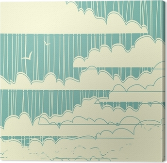 Retro grungy clouds background Canvas Print