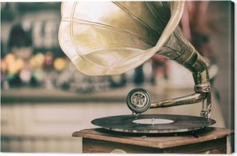 Retro old gramophone radio. Vintage style toned photo Canvas Print