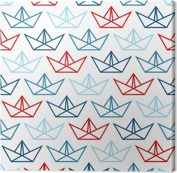 Retro Seamless Pattern Big Paper Boats Bluered Canvas Print
