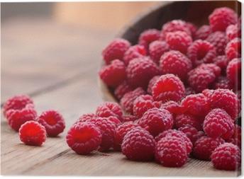 Ripe red raspberries Canvas Print