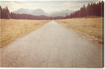 Road towards the mountains - Vintage image Canvas Print