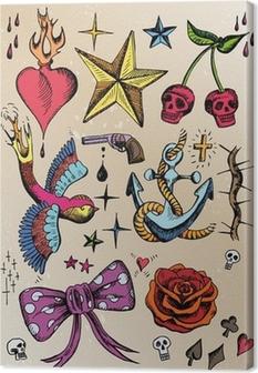 rockabilly tattoo vorlagen farbig Canvas Print