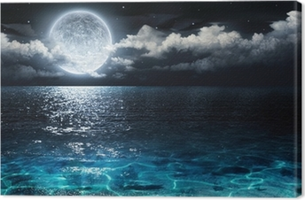 romantic and scenic panorama with full moon on sea to night Canvas Print