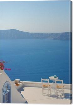 Rooftop Chairs on Santorini Greece Canvas Print