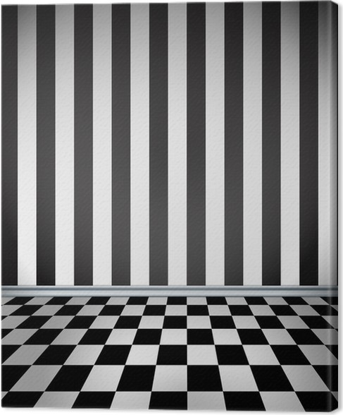 Room With Striped Wallpaper And Checkerboard Floor Canvas Print