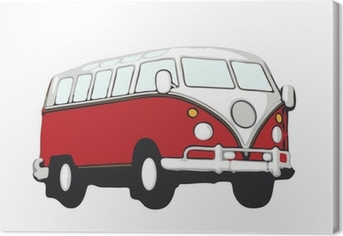 roter vw bus hippie Canvas Print