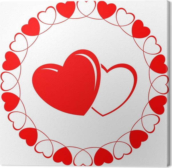 Round Decorative Frames Of Heart With Two Lover Hearts Canvas Print