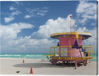 Round pink lifeguard station on Miami beach Canvas Print