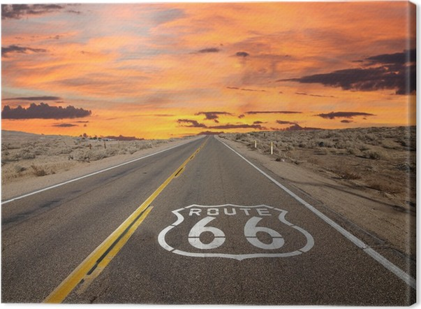 Route 66 Pavement Sign Sunrise Mojave Desert Canvas Print - Themes