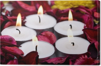 row of candles with red rose petals (shallow DOF) Canvas Print