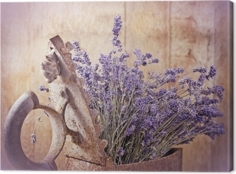 Rustic iron (old irin) and dry lavender Canvas Print