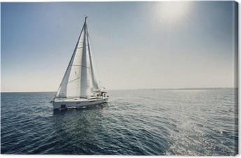 Sailing ship yachts with white sails Canvas Print