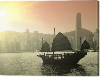 Sailing Victoria Harbor in Hong Kong Canvas Print