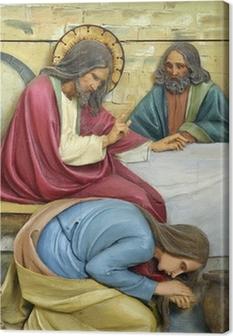 Saint Mary Magdalene washing Jesus feet Canvas Print