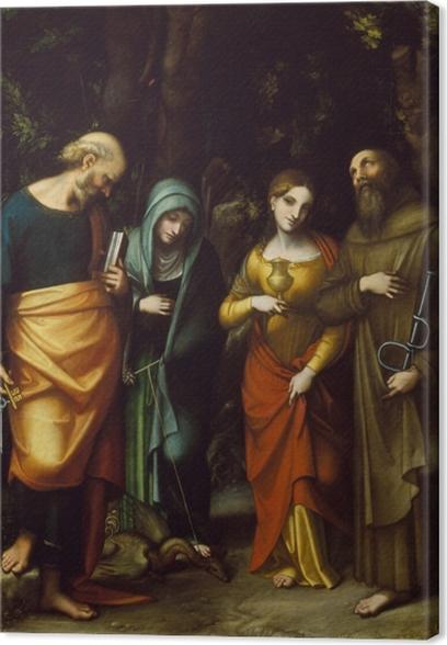 Saints Peter, Martha, Mary Magdalen, and Leonard Canvas Print - Renaissance