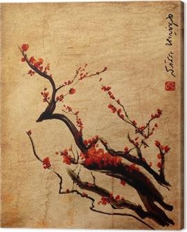 Sakura, cherry blossom plum Chinese painting Canvas Print