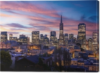 San Francisco skyline and Bay Bridge at sunset, California Canvas Print