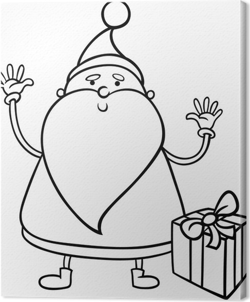 santa claus cartoon coloring page canvas print