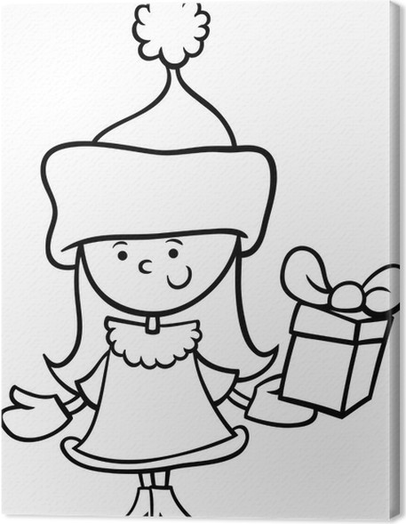 santa claus girl cartoon coloring page canvas print