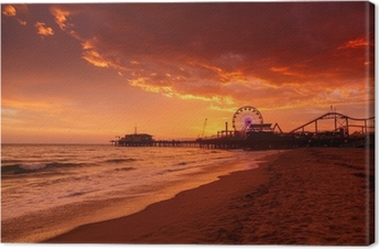 Santa Monica Pier at sunset Canvas Print