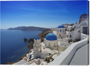 Santorini with Traditional Churches in Oia, Greece Canvas Print