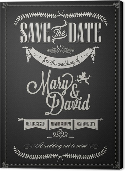 Save the date wedding invitation card on blackboard with chalk save the date wedding invitation card on blackboard with chalk canvas print stopboris Image collections