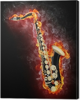 Saxophone in Flame Canvas Print
