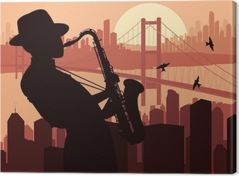 Saxophone player background illustration Canvas Print
