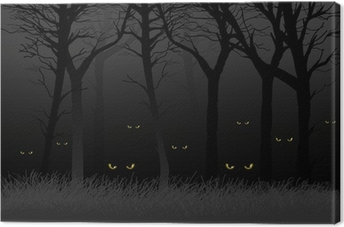 Scary eyes staring and lurking from dark woods Canvas Print