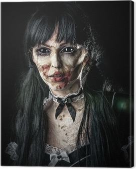 Scary zombie woman with black eyes Canvas Print