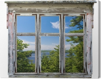 Scenic view seen through an old window frame Canvas Print