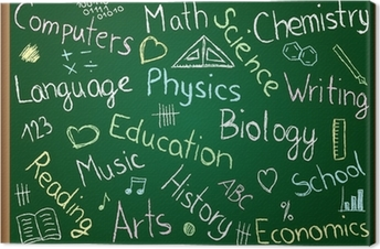 School subjects and doodles on chalkboard Canvas Print